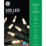 Platino luces de interior/al aire libre del LED del Permanecer-Lit de Sylvania de la Navidad de la cadena (varios colores y tallas) (mini luces 300CT, blanco caliente) (L100.055.00)