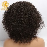 Pelucas delanteras del cordón del pelo de las mujeres negras del pelo humano del frente del cordón pelucas llenas del cordón de las pelucas rizadas humano de Malasia