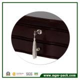 Rectángulo de joyería de madera del negro del diseño simple con bloquear