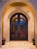 Ronda la parte superior de lujo y diseño de la puerta de hierro de entrada de bronce