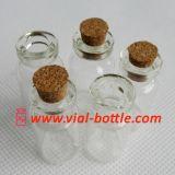 Le petit ordinateur mini Cork bouteille en verre transparent (HVCB002)