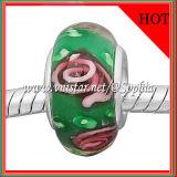 Parel van het Glas van de manier de Groene met Roze Bloemen