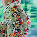 Moda de alta qualidade personalizados impressão digital de flores coloridas de cintura elevada Slim Exercício Ioga Pants Perneiras