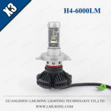 Faro dell'automobile di X3 H4 25W 6000lm LED
