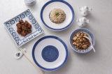 De witte en Blauwe Plaat van het Diner van de Melamine van de Kleur Eersteklas
