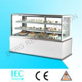 Белый мраморный квадратный стеклянный охладитель индикации торта