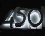 Почищенная щеткой дом 0-9 нержавеющей стали 3D