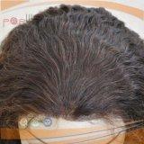 Верхней части черного цвета волос человека силиконовой кружевной Wig