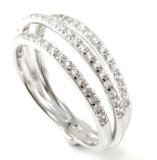 Monili d'argento del commercio all'ingrosso 925 dell'accessorio di modo delle donne di fascini due anelli di barretta R10549