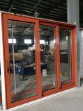 Дверь деревянного цвета алюминиевая сползая карманная для балкона и террасы