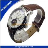 Relógio automático das vendas quentes para homens com a faixa do couro genuíno
