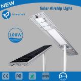 Solar de 100W en una calle de la luz con sensor de movimiento
