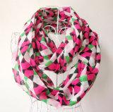 Écharpe Chiffon imprimée d'infini de polyester vérifiée par mode de femme (YKY1101)