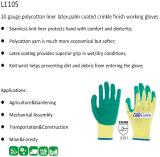 10 de Palm van de Voering van Polycotton van de maat bedekte de Groene Werkende Handschoenen van de Veiligheid van de Kreuk van het Latex met een laag