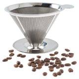 二重層はステンレス鋼の円錐形フィルターコーヒーDripperに注ぐ