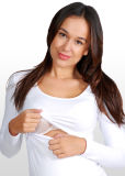 Malha Branco Long-Sleeve T-shirt superior de enfermagem