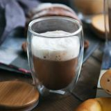 10oz 젖빛 유리 컵은 Pyrex 물 컵 두 배 벽 유리제 커피잔을 주문을 받아서 만든다