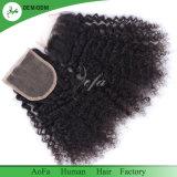 Das verworrene lockiges Haar-brasilianische menschliche Jungfrau-Haar-Spitze-Schliessen