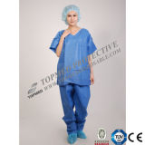 Uniforme chirurgical jetable de Nonwoevn, costumes chirurgicaux jetables