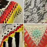 Chandail floral de poncho de lacet de frange de mode de femmes