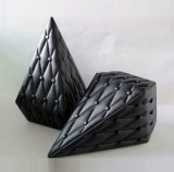 Boîte de parfum en forme de diamant en cuir noir