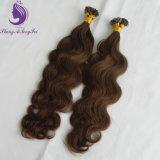 Estensione umana dei capelli di Remy del Brown del corpo di punta piana media ondulata di colore