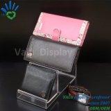 Stand à gradins acrylique de support de crémaillère d'étalage de pochette de dames/de bourse de sac coup d'étagères