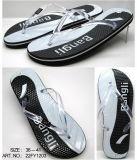 Sandalia de caucho zapatos Dama Flip Flop con Glitter Correa (22FL908)