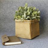 Crisol lavable de la planta del juguete del bolso del almacenaje del papel de Kraft para la decoración de la Navidad