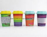 Heiße Verkäufe BPA geben BambusKaffeetasse der faser-12oz mit Filz-Gewebe-Hülse frei