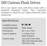 De Aandrijving van de Flits van Dh USB van het Omhulsel van het Aluminium van het Embleem van de douane (alp-011U)