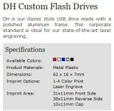 Flash Drive logotipo personalizado Cubierta de aluminio Dh USB (ALP-011U)