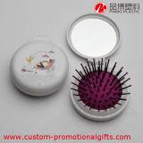 Forme ronde Ball peigne en plastique pliable avec miroir