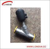 Válvula de assento de ângulo pneumático de aço inoxidável sanitário