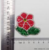 Rosa Flor de la moda de Rhinestones parche bordado de hierro en el monograma Accesorios