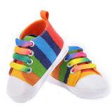 Pattini di tela di canapa del Rainbow di modo dei pattini di bambino Prewalkers morbido casuale (AKBS4)