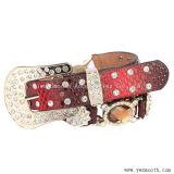 カスタム方法女性のための装飾的なラインストーンの革Pinのバックルベルト