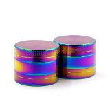 3 Camadas de liga de zinco Rainbow Moedor de ervas com peça plana