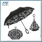 Windundurchlässiger Rückregenschirm umgewandelt mit c-Griff