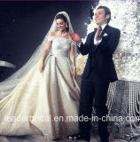 Robe de mariage royale de Rhinestones de bille de robes de cathédrale en cristal nuptiale de luxe de talons G1866