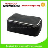 Portable Black Contents Bolsa de maquilhagem PU Logotipo personalizado com fecho de correr