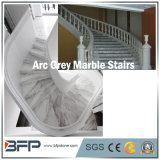 지면 Upstair 내부를 위한 회색 대리석 돌 층계 또는 단계 & 라이저
