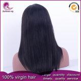 De seda negro natural cabello virgen brasileño recta peluca de encaje completo