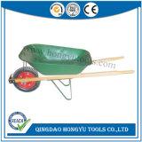 木のハンドルの緑色の園芸一輪車Wb6202