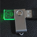 Movimentação de cristal clara do flash do USB do giro do diodo emissor de luz Pendrive com logotipo da gravura 3D
