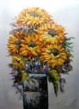 Handgemachte Sun-Blumen-Ölgemälde-Segeltuch-Wand-Kunst durch Paletten-Messer