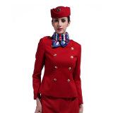 Женщины фабрики выполненные на заказ Double-Breasted форма авиакомпании красного цвета