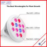 Venta caliente en el año 2016 E27 12W LED 24W luz crecer para la planta creciente