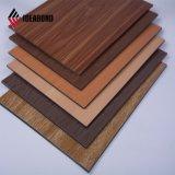 Aparência de madeira de cerejeira vermelho painel composto de alumínio para uso externo