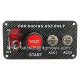 カーボンファイバーのレースカー12Vの点火スイッチのパネルエンジンの開始の押しボタンLEDのトグル
